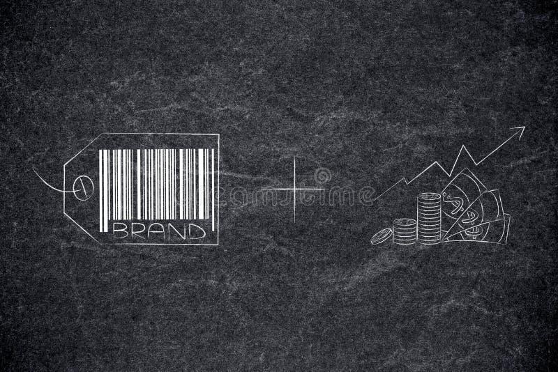 Märkesstrategietikett plus vinster som går upp royaltyfri illustrationer