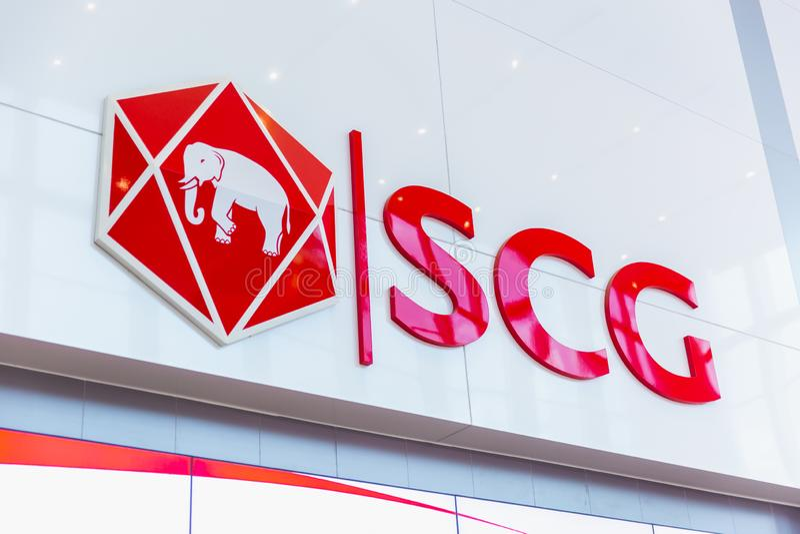 Märket för den Siam Cement Group SCG-logoen som bygger på smällen, stämmer i regeringsställning arkivfoto