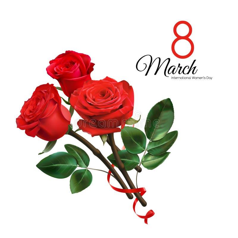 8. März Frauen ` s Tagesgrußkartenschablone Realistische rote Rosen lokalisiert auf weißem Hintergrund vektor abbildung