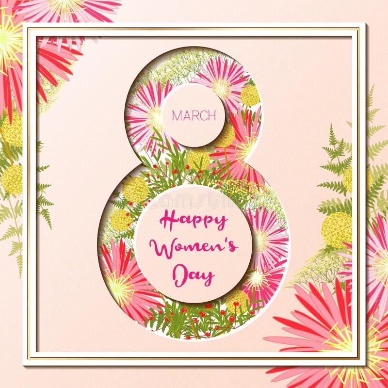 8. März glücklicher Frauen ` s Tagesbunte Blumengrußkarte lizenzfreie abbildung