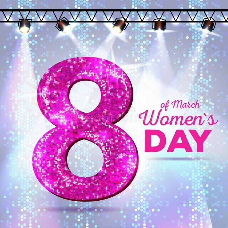 8. März Grußkarte Frauen `s Tag lizenzfreie abbildung