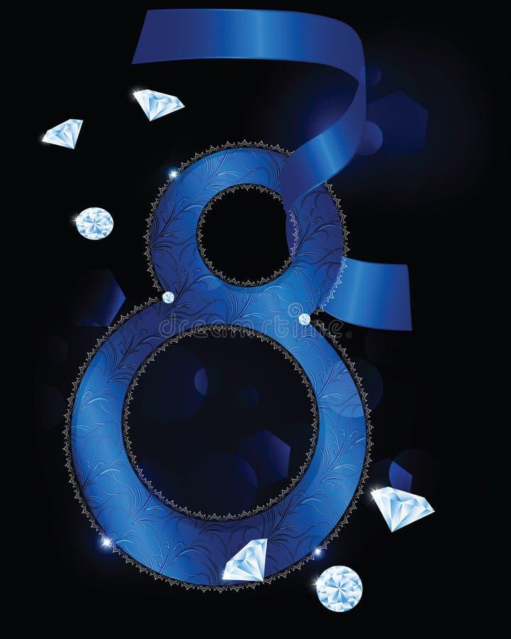 8. März Grußkarte mit Diamanten und blauem Band vektor abbildung