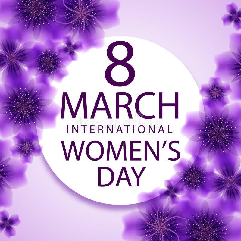 8. März internationale Frauen ` s Tagesgrußkartenschablone vektor abbildung
