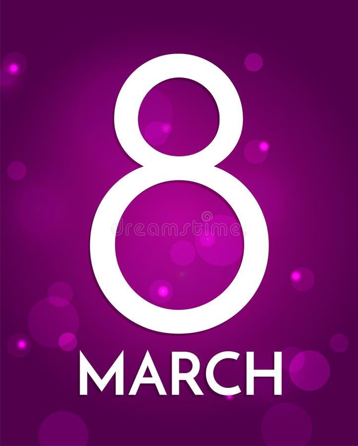8. März internationaler Frauen ` s Tag Hintergrund mit großer Nr. acht vektor abbildung