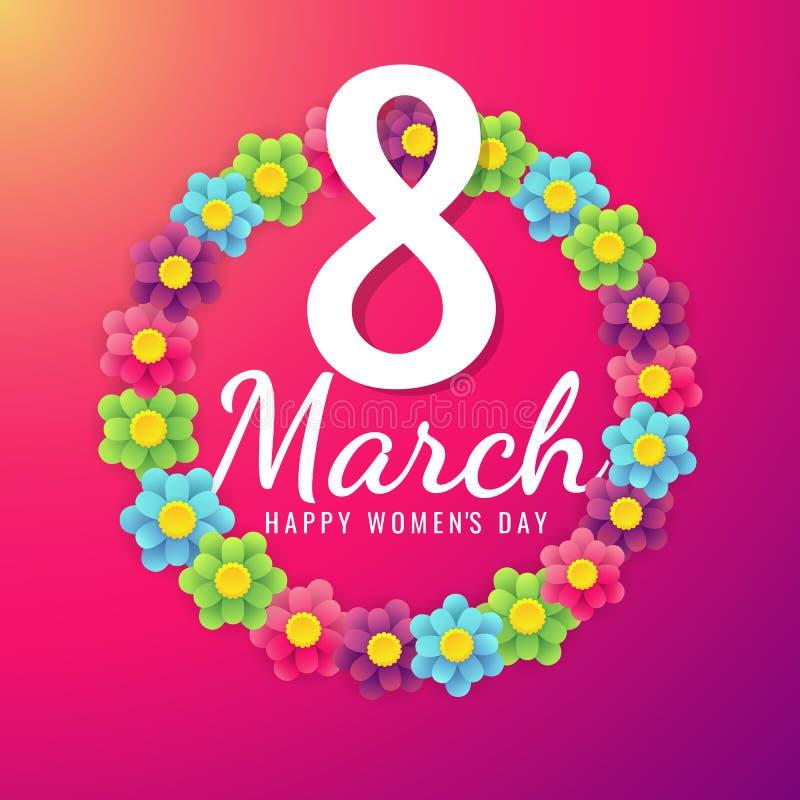 8. März internationaler Frauen ` s Tageshintergrund mit den Blumenblumenblättern Illustration kann im Newsletter, Broschüren, Pos lizenzfreies stockbild