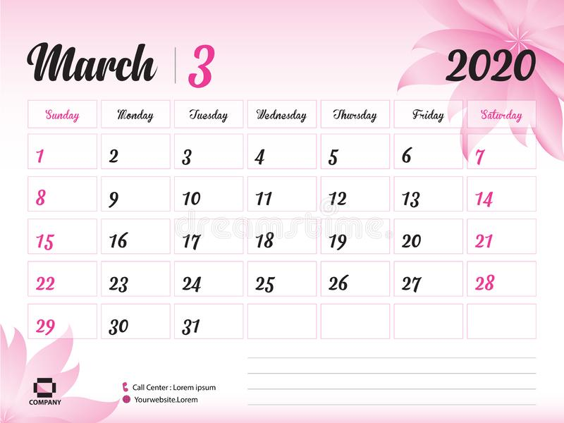 März 2020 Jahr-Schablone, Kalender-2020 Vektor, Tischkalender-Entwurf, rosa Blumenkonzept für Kosmetik, Schönheit, Badekurort, Ge lizenzfreie abbildung