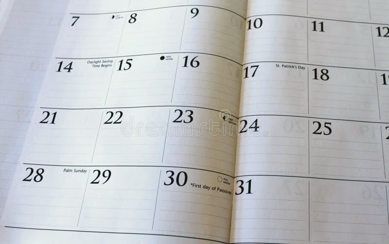 März-Kalender stockfotos