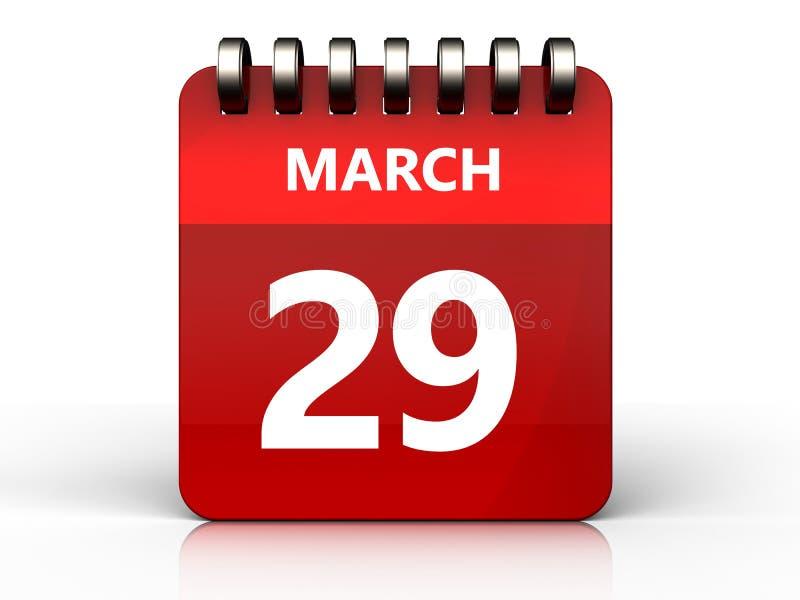 am 29. März Kalender 3d lizenzfreie abbildung