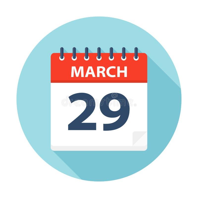 29. März - Kalender-Ikone lizenzfreie abbildung