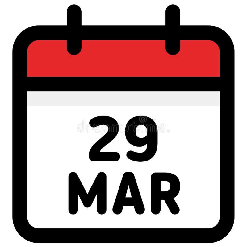 29 März - Kalender-Ikone - Vektor-Illustration lizenzfreie abbildung