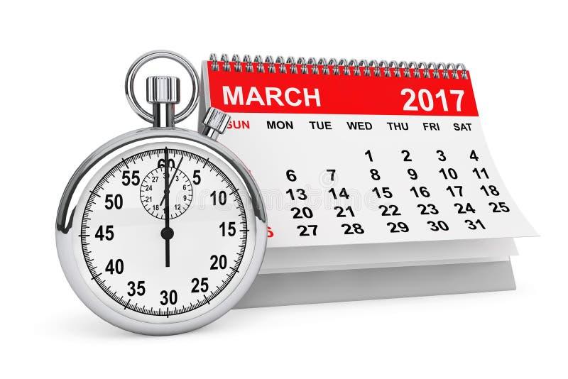 März 2017 Kalender mit Stoppuhr Wiedergabe 3d lizenzfreie abbildung