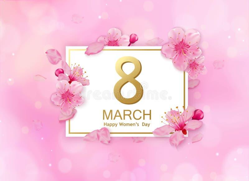 8. März modernes Hintergrunddesign mit Blumen Glücklicher Frauen ` s Tagesstilvolle Grußkarte mit den Kirschblüten und -blumenblä lizenzfreie abbildung