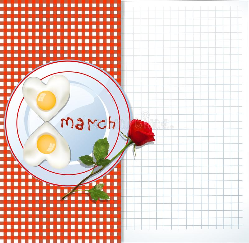 8. März Schablone mit Eiern und Rotrose stock abbildung