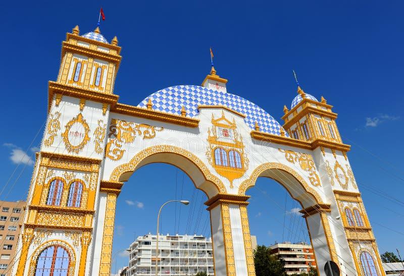 Mässa på Seville, festmåltid i Spanien arkivfoton