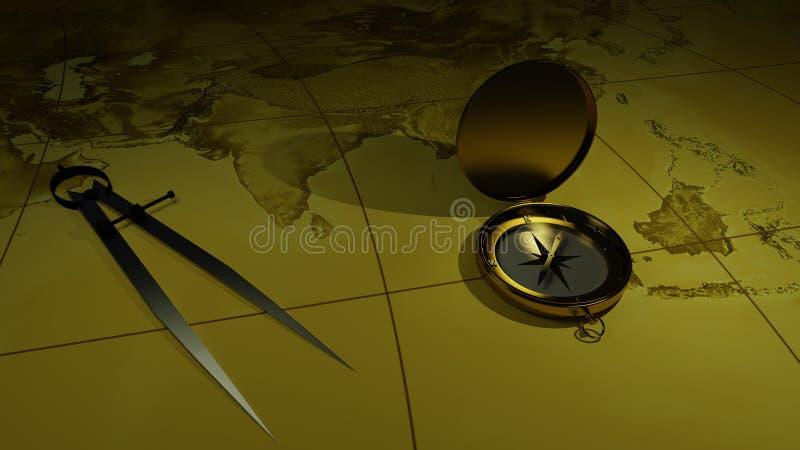 Mässingskompass på en världskartabakgrund framförande 3d vektor illustrationer