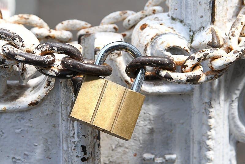 Mässingspadlock- och järnkedja royaltyfri bild