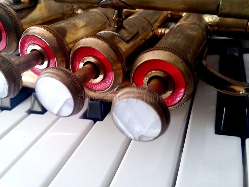 Mässingspickolaflöjttrumpet på pianotangenter royaltyfria bilder