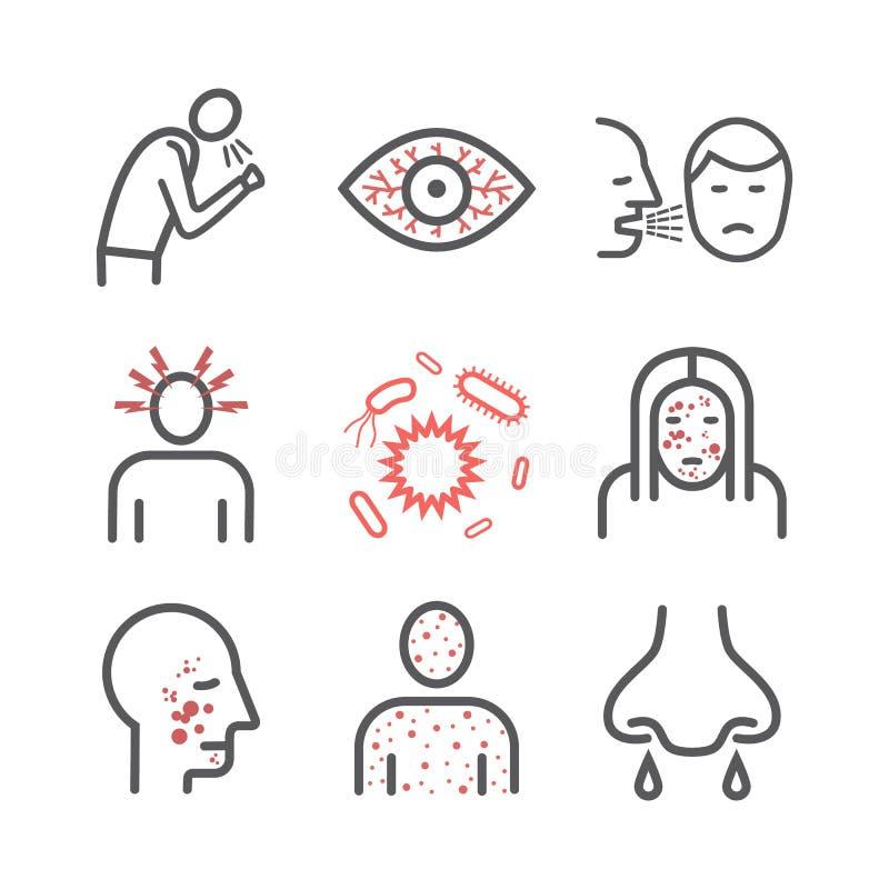 mässling Tecken behandling Linje symbolsuppsättning Vektortecken stock illustrationer