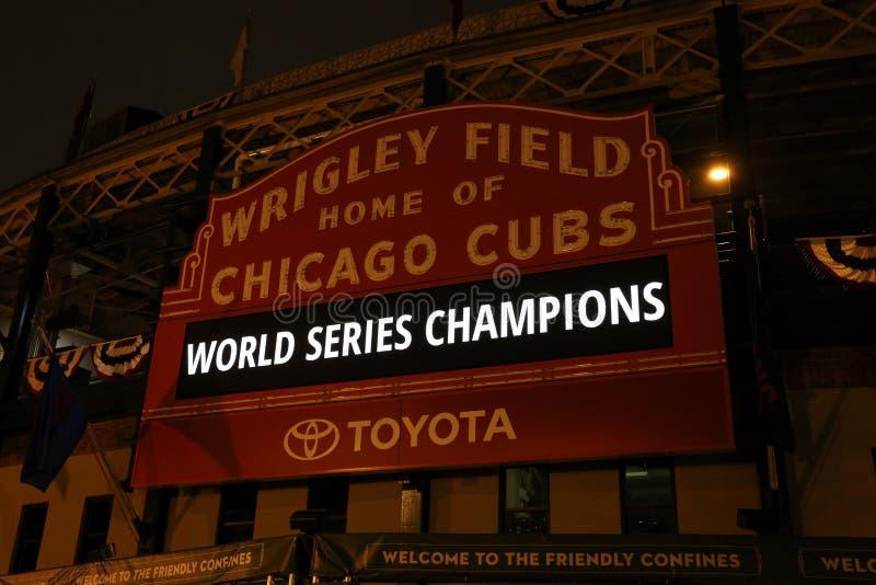 Mästare för Chicago Cubsvärldsserie royaltyfria foton