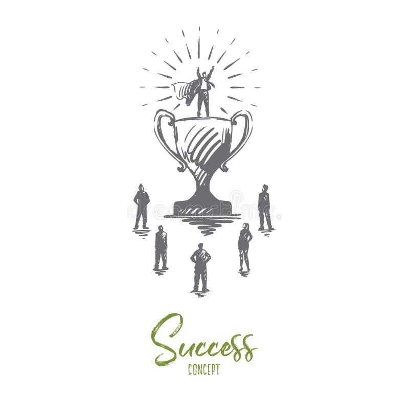 Mästare framgång, seger, affärsman, stålmanbegrepp Hand dragen isolerad vektor royaltyfri illustrationer