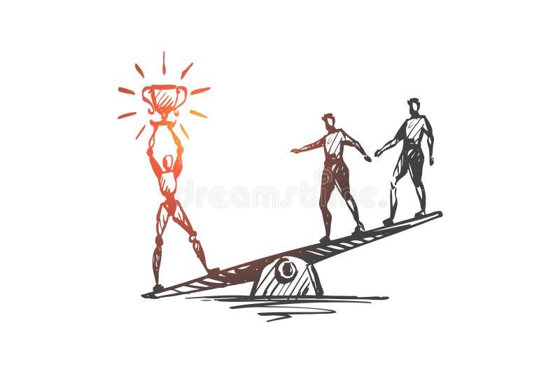 Mästare framgång, seger, HCI, automation, teknologibegrepp Hand dragen isolerad vektor royaltyfri illustrationer