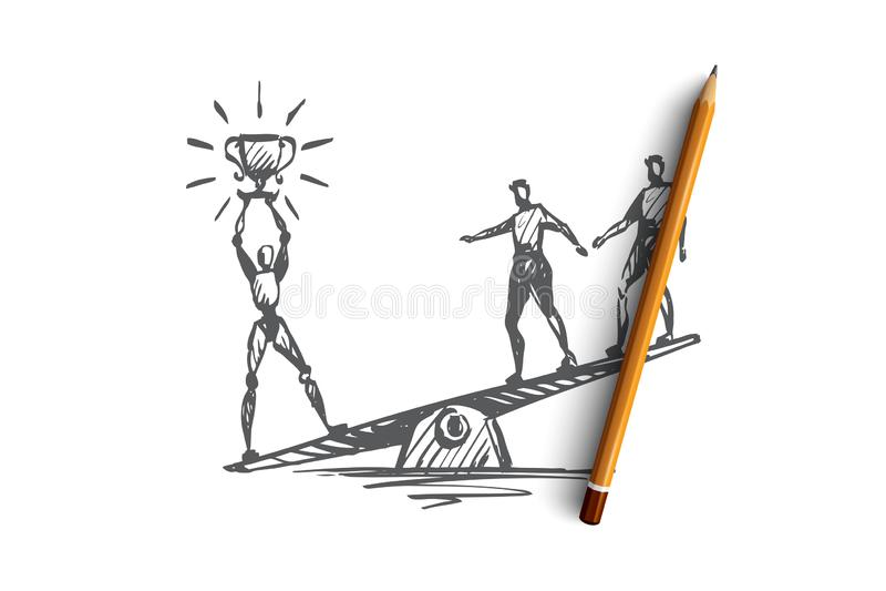 Mästare framgång, seger, HCI, automation, teknologibegrepp Hand dragen isolerad vektor stock illustrationer