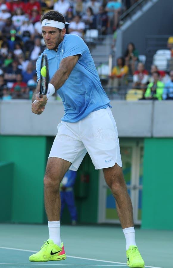 Mästare Juan Martin Del Porto för storslagen Slam av Argentina i handling under mäns semifinalen för singlar av Rio de Janeiro 20 royaltyfri fotografi
