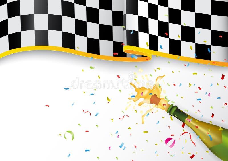 Mästareberöm med champagneexplosion och konfettier royaltyfri illustrationer
