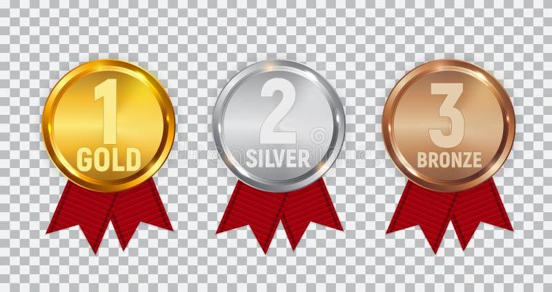 Mästareguld, silver och bronsmedalj med det röda bandet Symbolstecken av den först, andra och tredje ställenollan vektor illustrationer