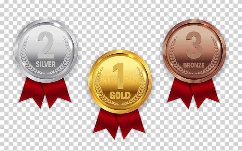 Mästareguld, silver och bronsmedalj med det röda bandsymbolstecknet stock illustrationer