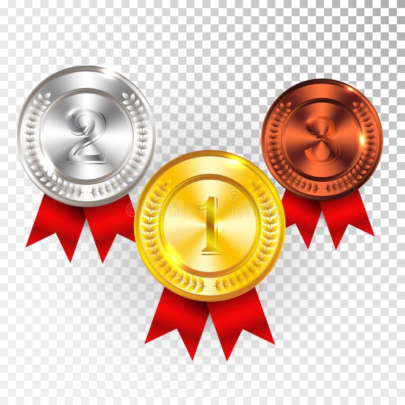 Mästareguld, silver och bronsmedalj med det röda bandsymbolstecknet först, andra och tredje ställesamlingsuppsättning som isolera royaltyfri illustrationer