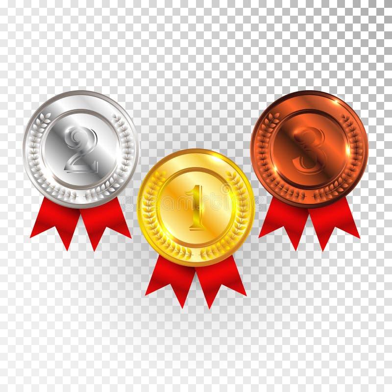 Mästareguld, silver och bronsmedalj med det röda bandsymbolstecknet först, andra och tredje ställesamlingsuppsättning som isolera vektor illustrationer