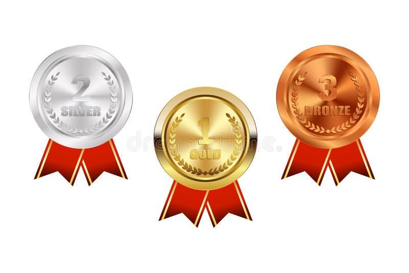 Mästareguld, silver och bronsmedalj med det röda bandsymbolstecknet först royaltyfri illustrationer