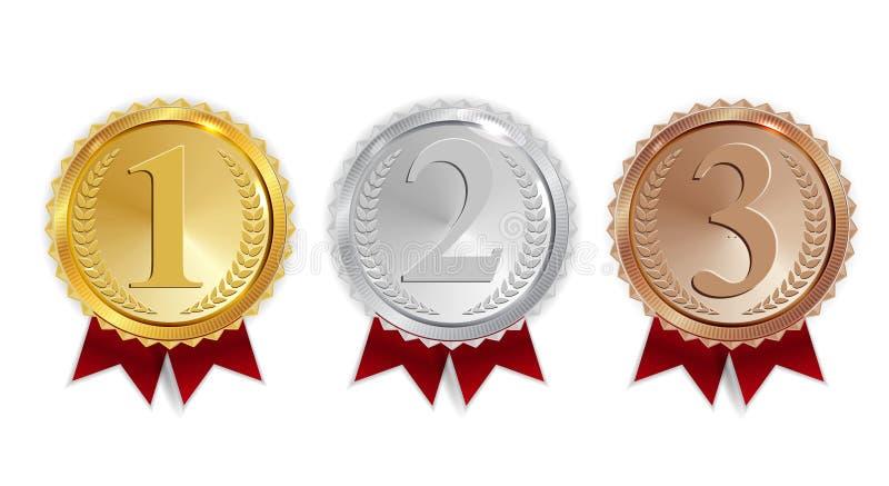 Mästareguld, silver och bronsmedalj med det röda bandsymbolstecknet först, uppsättning för Secondand tredje ställesamling som iso vektor illustrationer