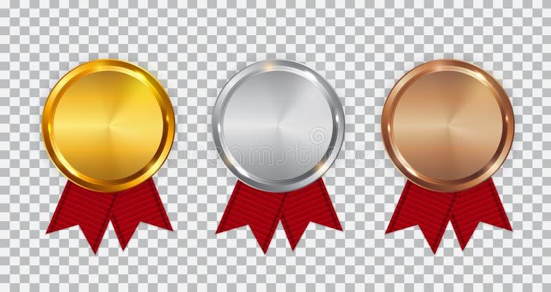 Mästareguld-, silver- och bronsmedaljmall med det röda bandet Symbolstecken av den först, andra och tredje ställenollan stock illustrationer