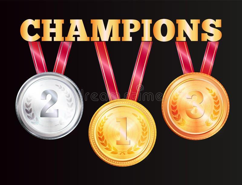 Mästaremedaljer som isoleras på svart bakgrund royaltyfri illustrationer