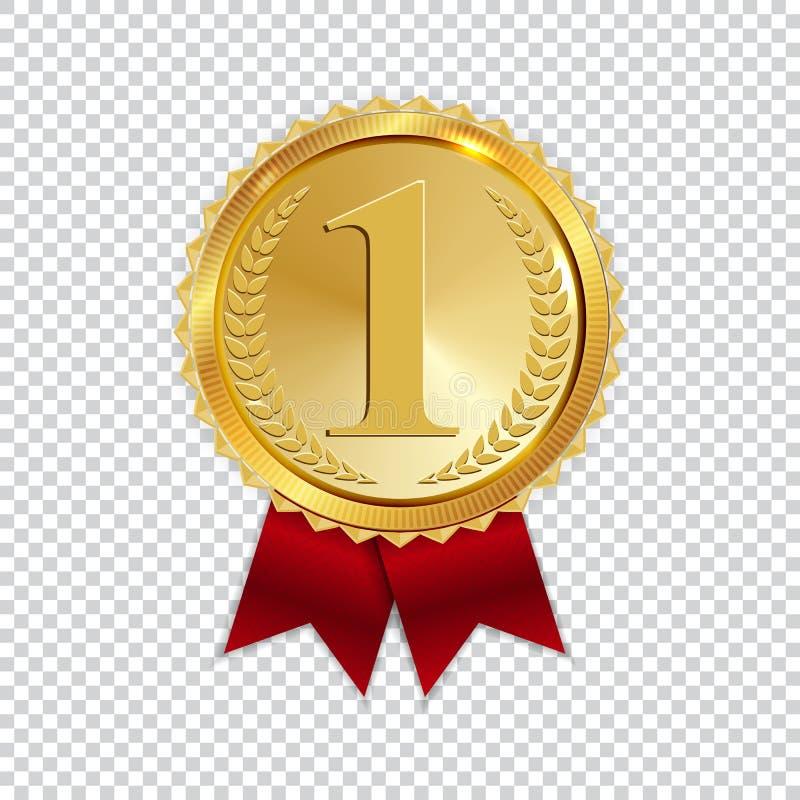 Mästaren Art Golden Medal med rött band l symbolstecken förlägger först isolerat på genomskinlig bakgrund vektor vektor illustrationer