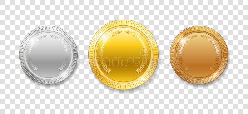 Mästareutmärkelsemedaljer för sportvinnarepris Uppsättningen av realistisk 3d tömmer isolerade guld, silver och bronsmedaljer vek royaltyfri illustrationer