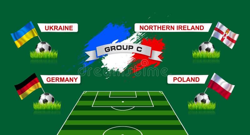 Mästerskap för fotboll för Frankrike grupp C med flaggor av europeisk countr royaltyfri illustrationer