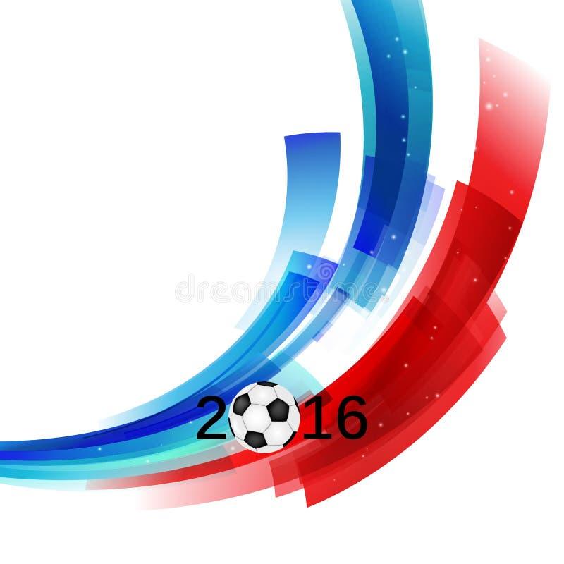 Mästerskapet 2016 för euroFrankrike fotboll med bollen och Frankrike sjunker vektorn stock illustrationer
