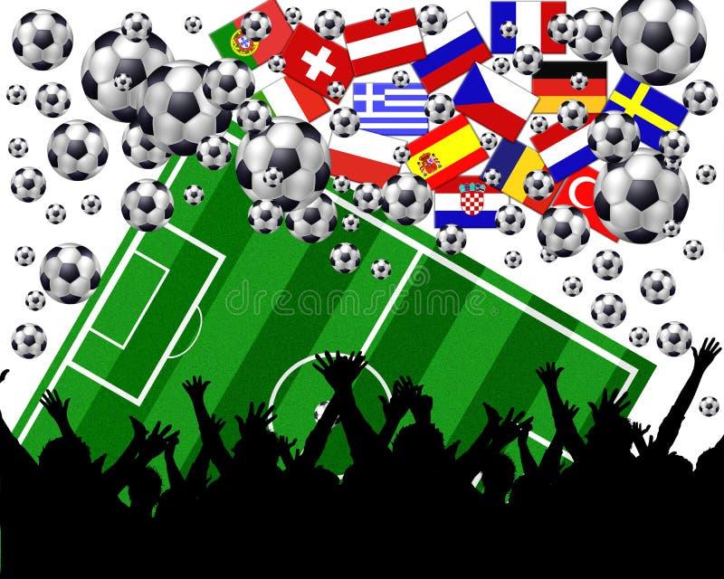 mästerskapeuropeanfotboll royaltyfri illustrationer