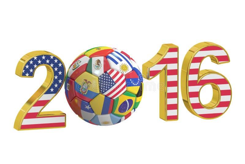 Mästerskapfotboll USA 2016, tolkning 3D stock illustrationer