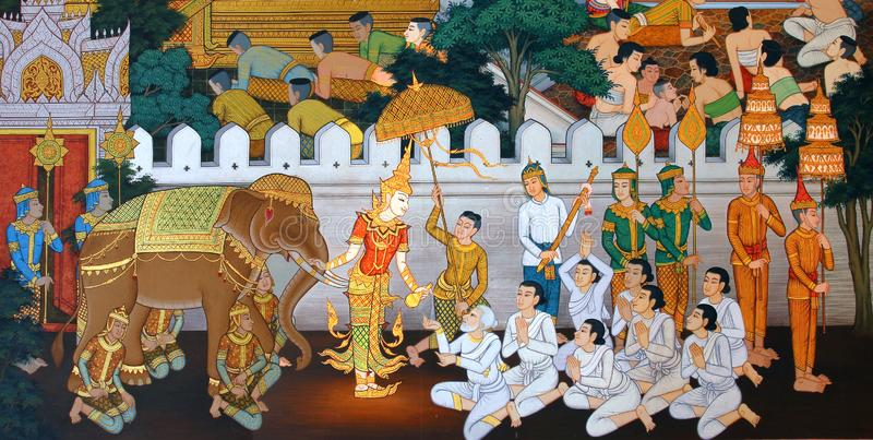 Mästerverk av traditionell thailändsk stilmålningkonst som är gammal om Buddhaberättelse på tempelväggen på Watmanow, Bangkok, Th arkivfoto