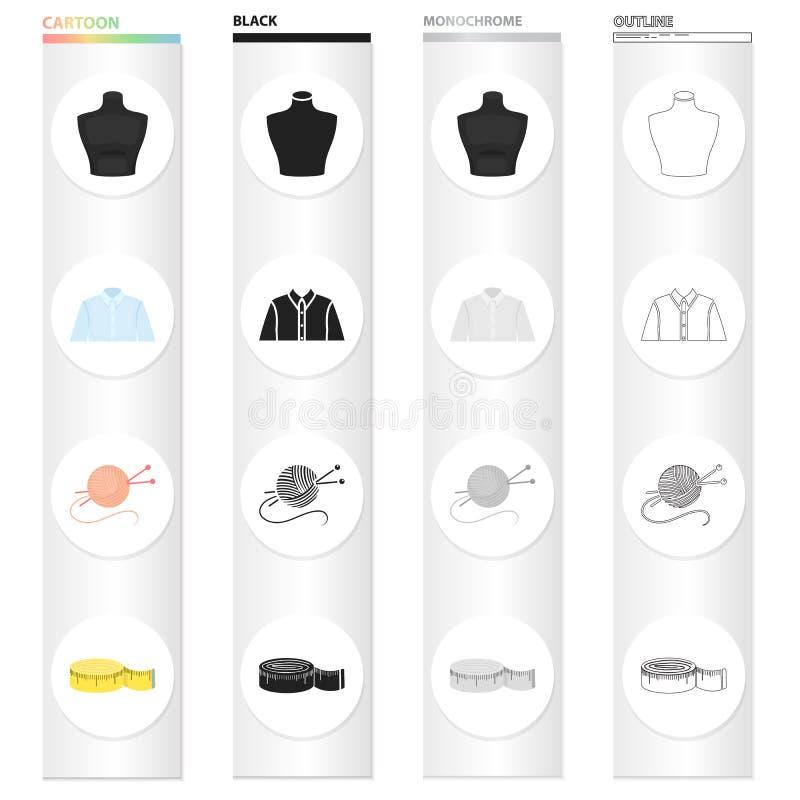 Mäta bandet för att sy, skyltdocka, skjorta för man` s, tova med stickor Fastställd samling för sömnad och för utrustning vektor illustrationer
