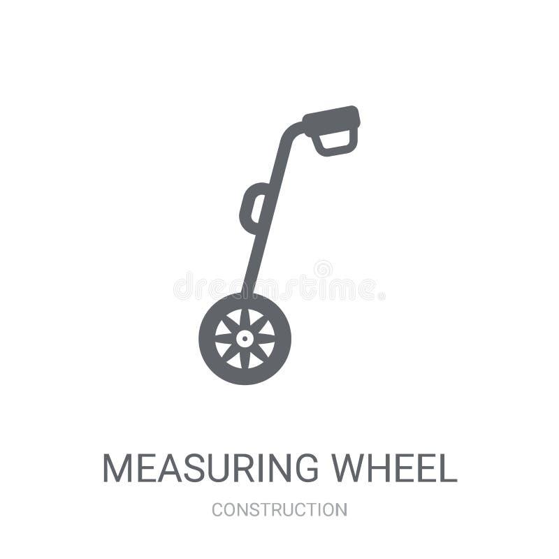 Mäta hjulsymbolen Moderiktigt mäta hjullogobegrepp på whi royaltyfri illustrationer