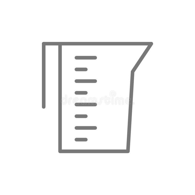 Mäta koppen, behållare, laboratoriumglasföremål, dryckeskärllinje symbol stock illustrationer