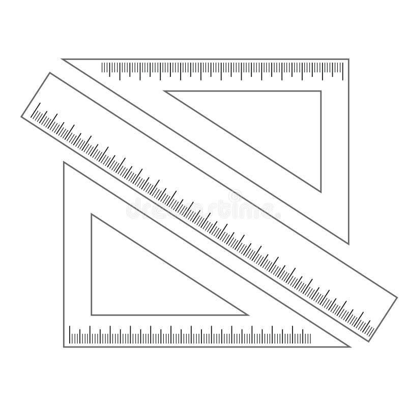 Mäta linjalen och två trianglar med en skala stock illustrationer
