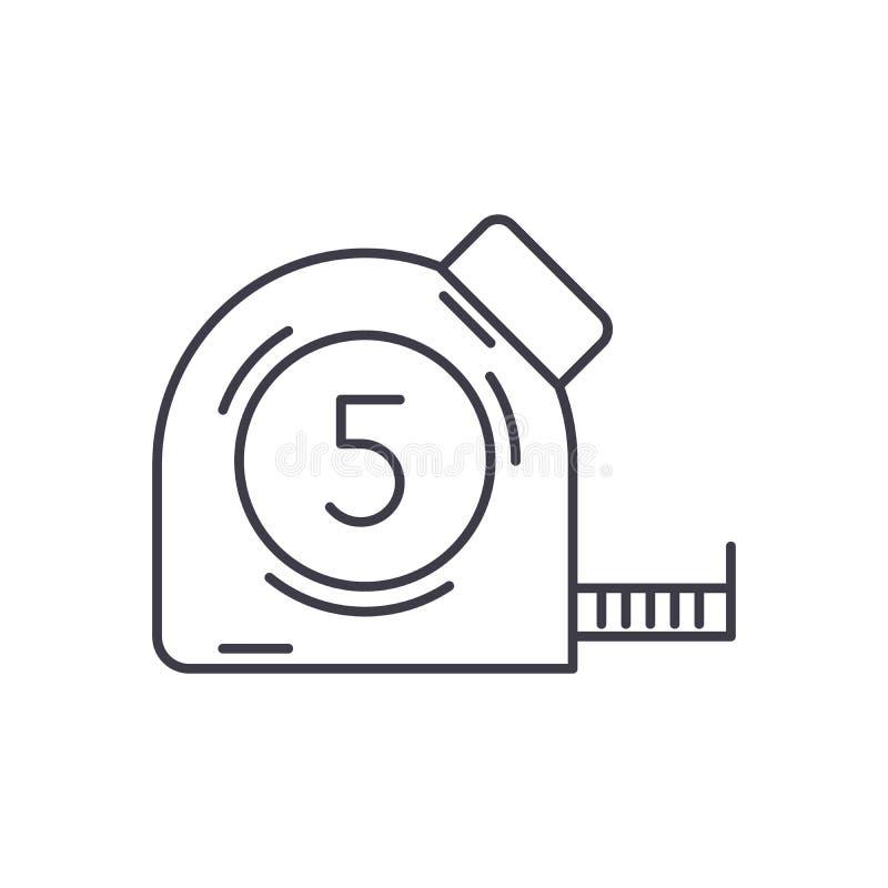 Mäta måttbandsymbolsbegrepp Mäta den linjära illustrationen för bandvektor, symbol, tecken stock illustrationer