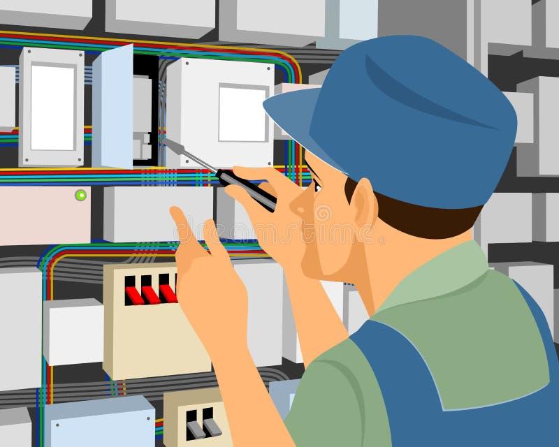 mätande arbete för elektrikerelektricitet royaltyfri illustrationer