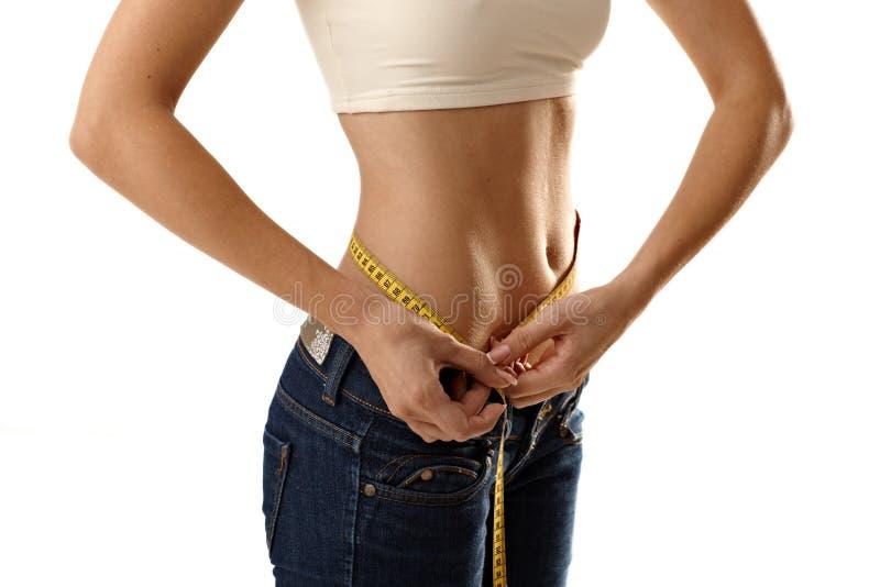 mätande waistlinekvinna för format thin fotografering för bildbyråer